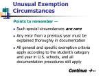unusual exemption circumstances63