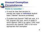 unusual exemption circumstances65