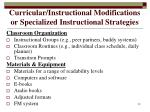 curricular instructional modifications or specialized instructional strategies20