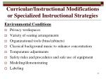 curricular instructional modifications or specialized instructional strategies21