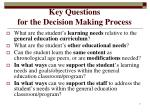 key questions for the decision making process
