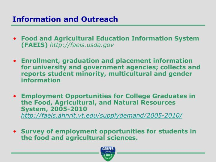 Information and outreach