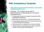 mdc competency template