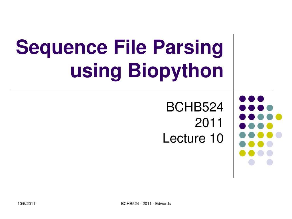 sequence file parsing using biopython l.