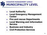 disaster management levels municipality level