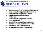 disaster management levels national level