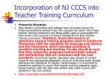 incorporation of nj cccs into teacher training curriculum