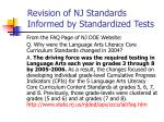 revision of nj standards informed by standardized tests