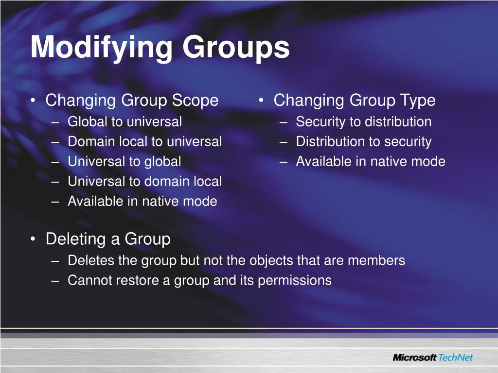 Changing Group Scope