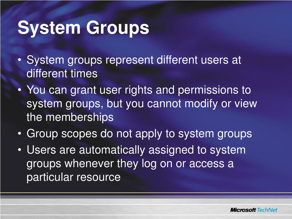 System Groups