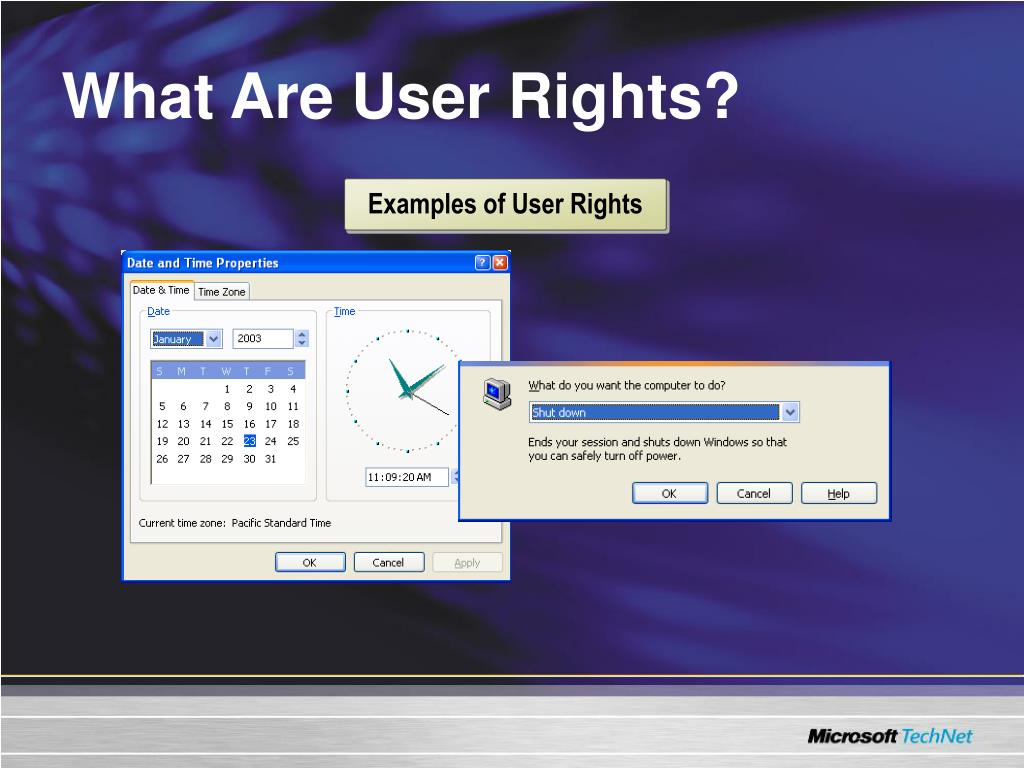 Examples of User Rights