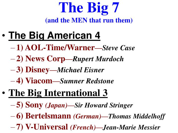 The big 7 and the men that run them