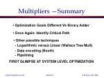 multipliers summary