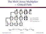 the mxn array multiplier critical path