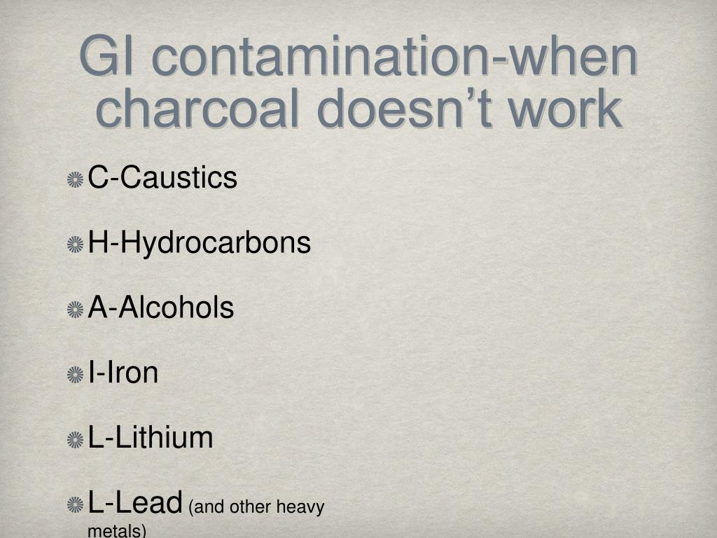 GI contamination-when charcoal doesn't work