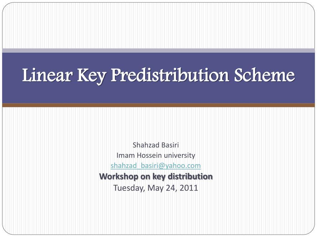 linear key predistribution scheme l.