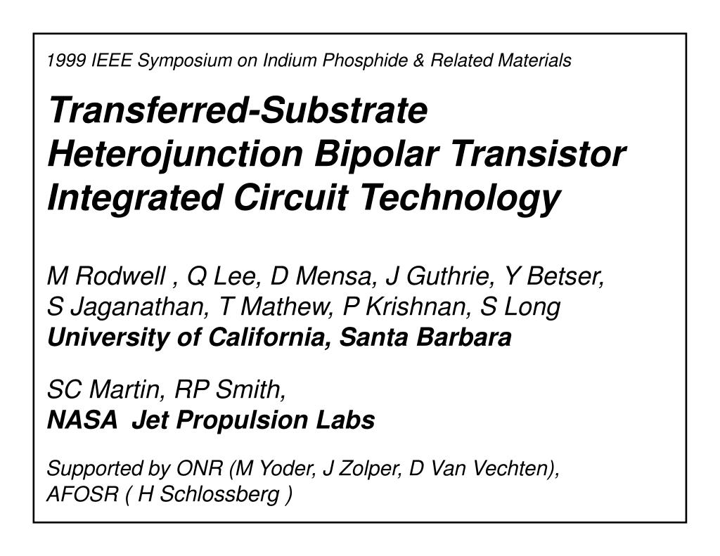transferred substrate heterojunction bipolar transistor integrated circuit technology l.