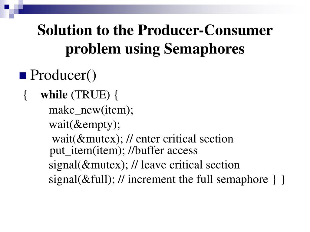 Solution to the Producer-Consumer problem using Semaphores