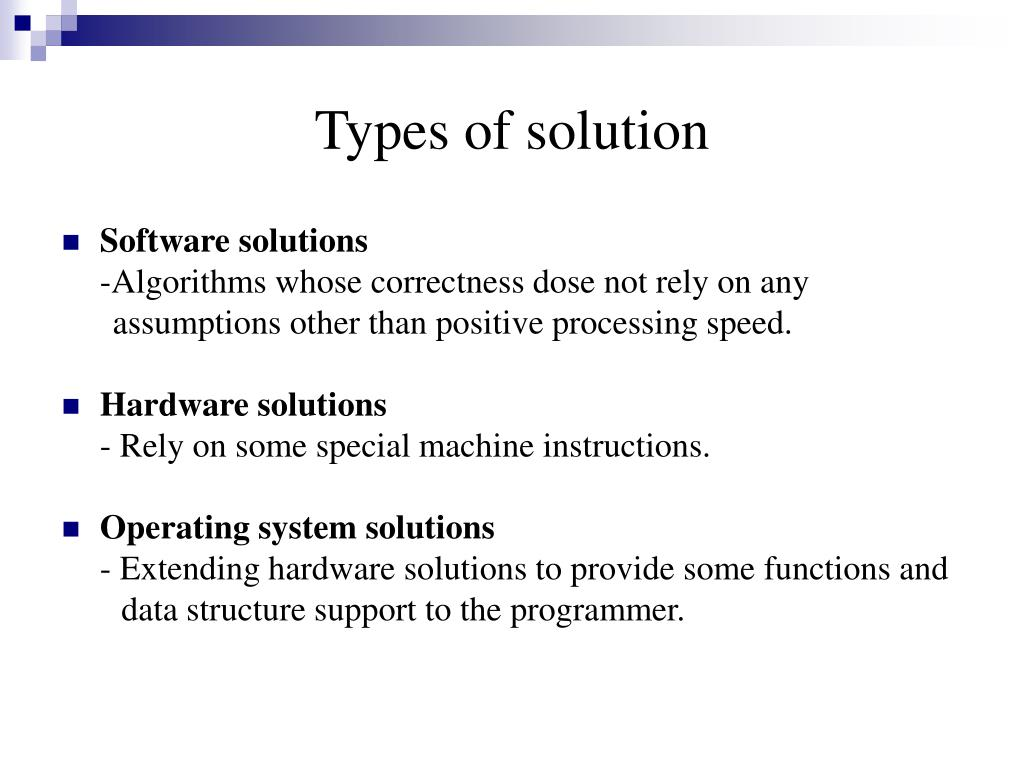 Types of solution
