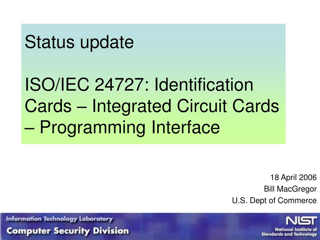 status update iso iec 24727 identification cards integrated circuit cards programming interface l.