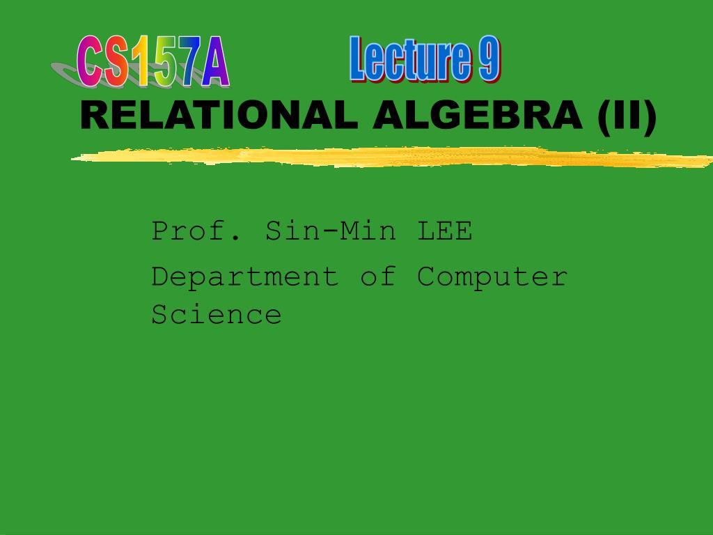 relational algebra ii l.