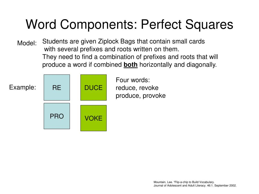 word components perfect squares l.