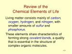 review of the chemical elements of life