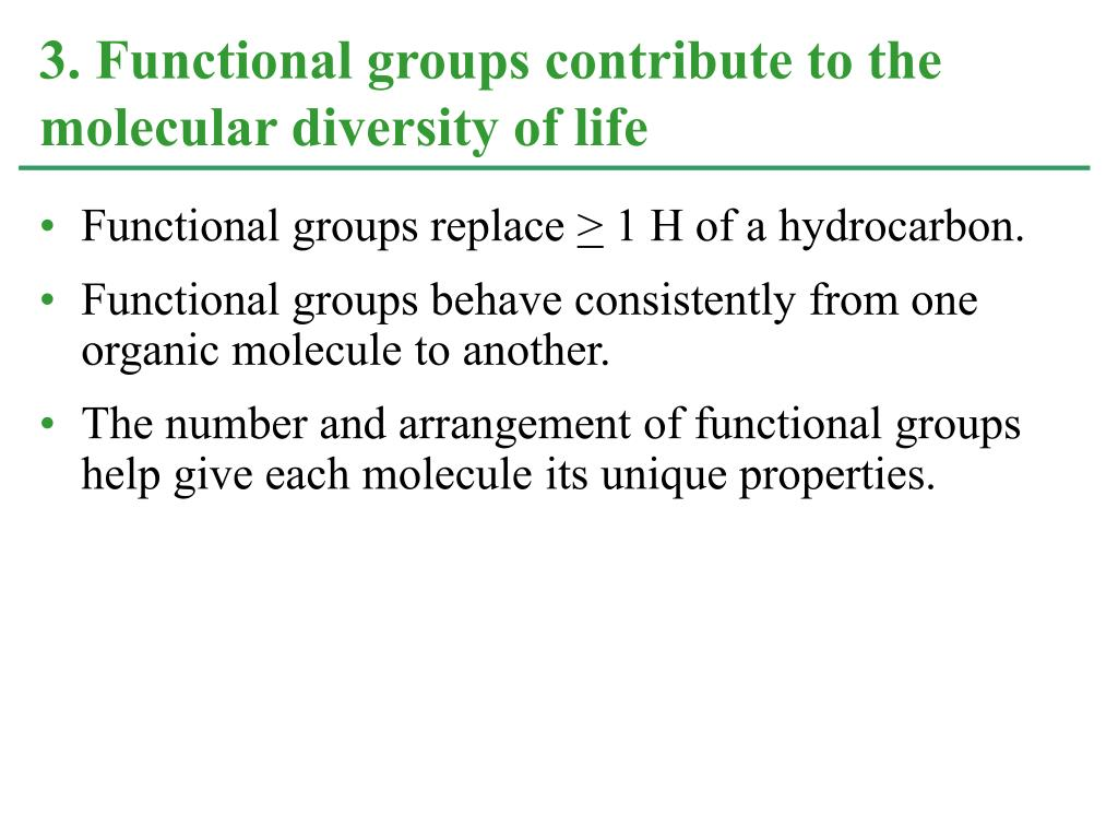 Functional groups replace