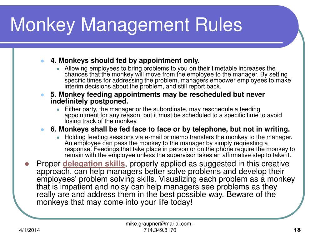 Monkey Management Rules