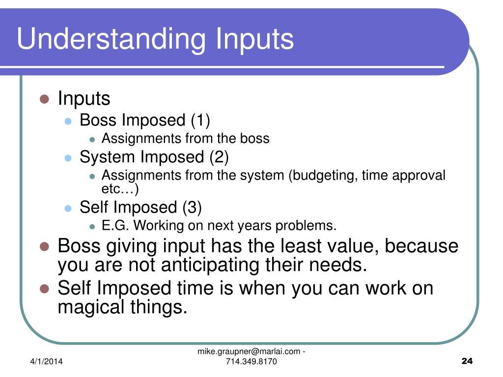 Understanding Inputs