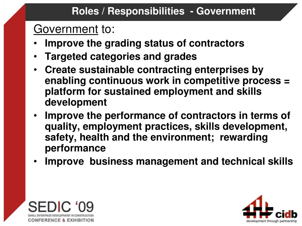 Roles / Responsibilities  - Government