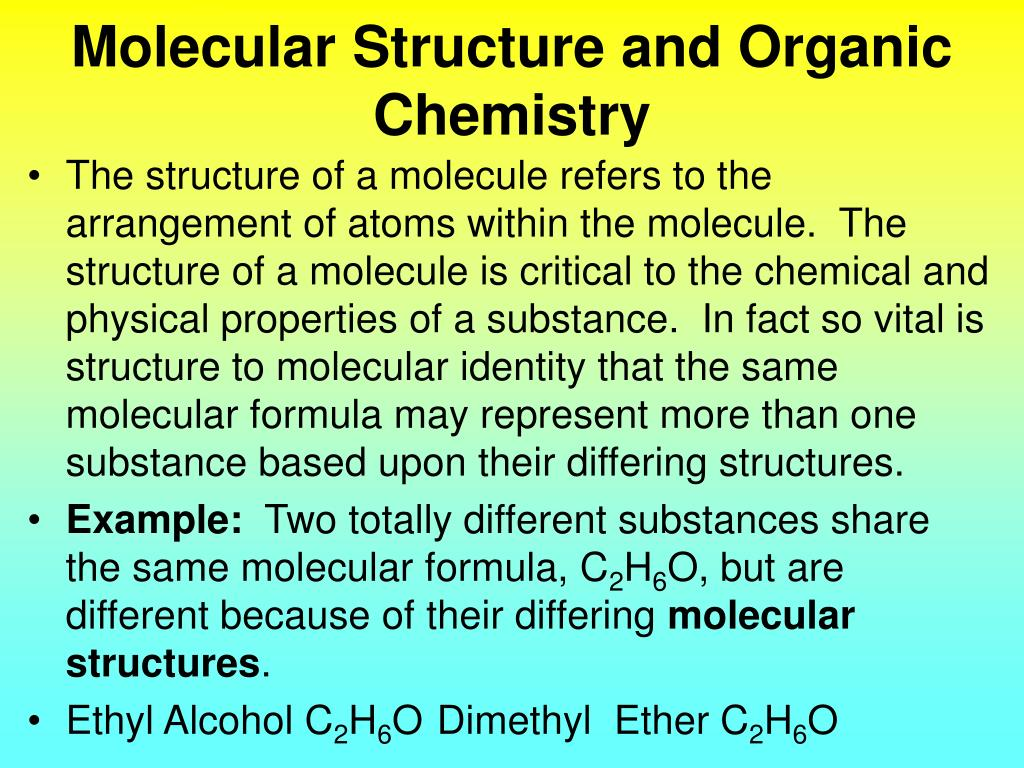 molecular structure and organic chemistry l.