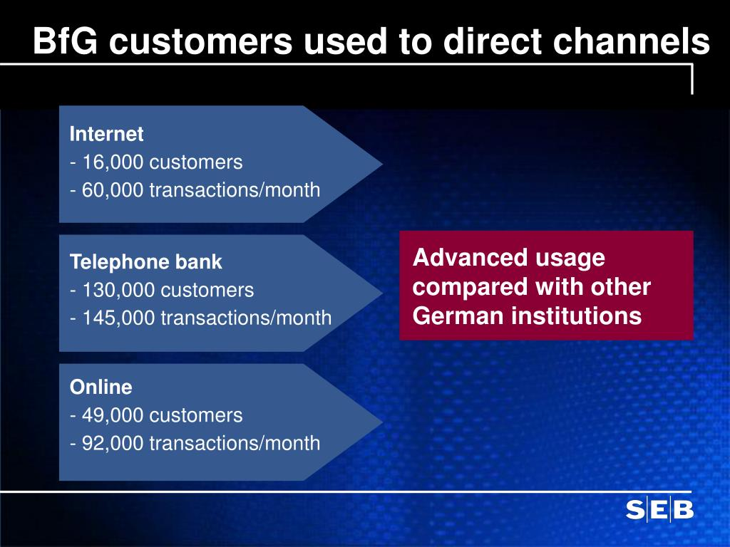BfG customers used to direct channels