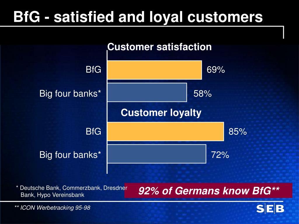 BfG - satisfied and loyal customers