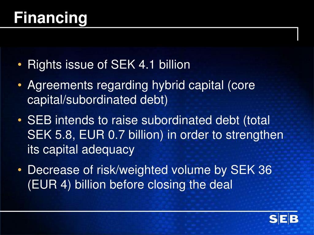 Rights issue of SEK 4.1 billion