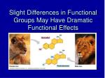 slight differences in functional groups may have dramatic functional effects