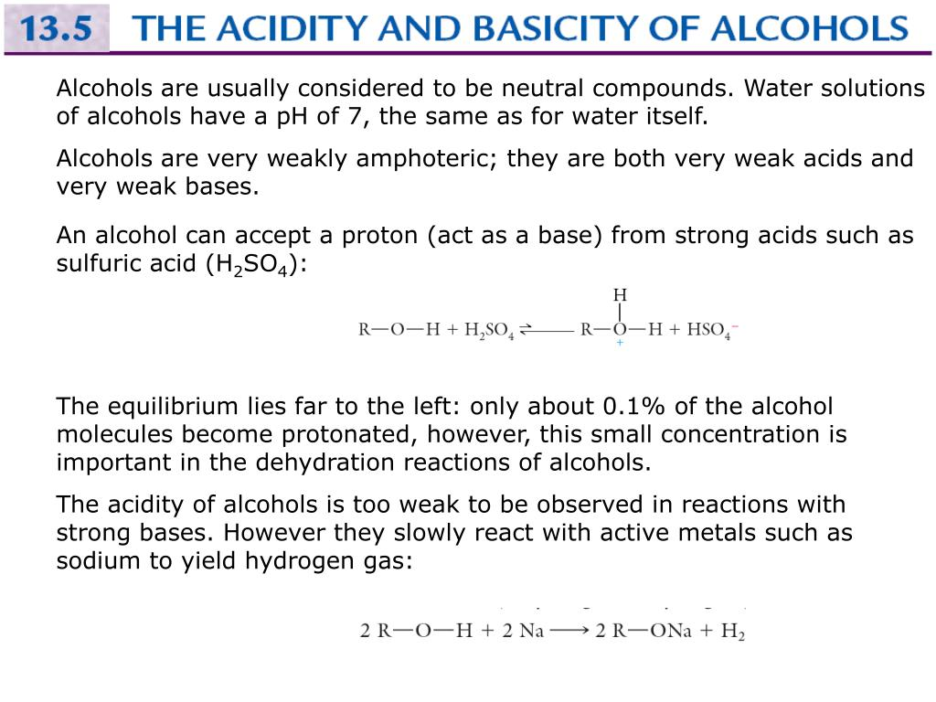 Alcohols are usually considered to be neutral compounds. Water solutions of alcohols have a pH of 7, the same as for water itself.