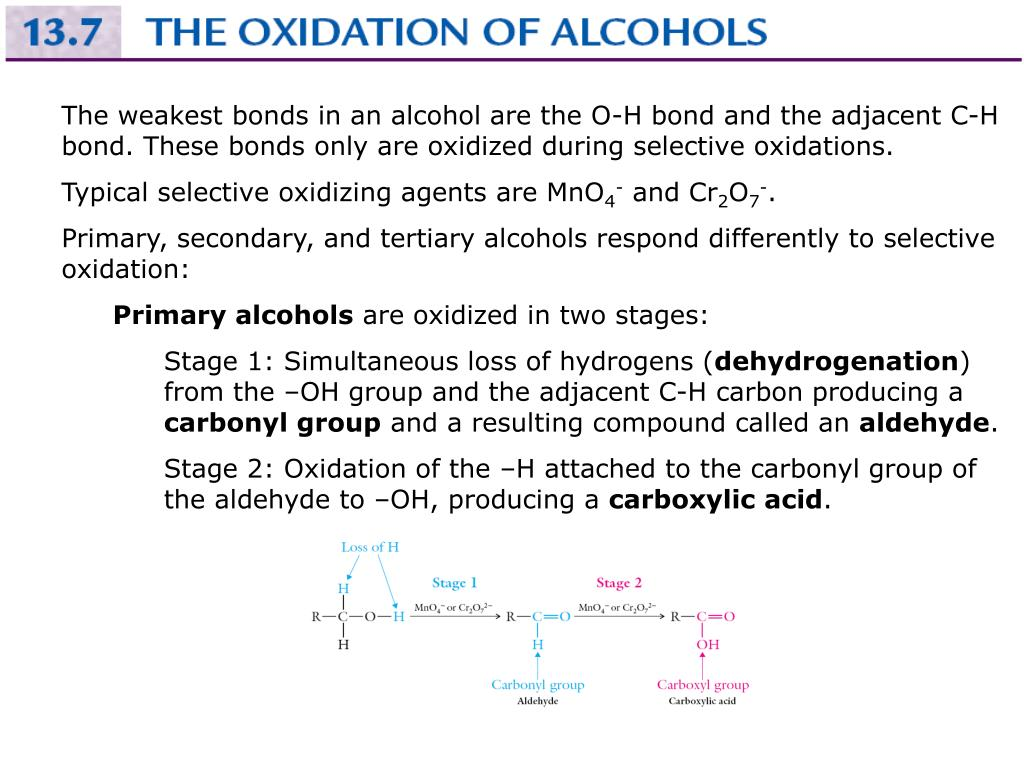 The weakest bonds in an alcohol are the O-H bond and the adjacent C-H bond. These bonds only are oxidized during selective oxidations.