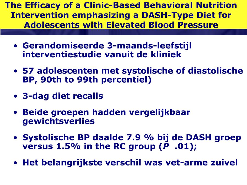 The Efficacy of a Clinic-Based Behavioral Nutrition Intervention emphasizing a DASH-Type Diet for Adolescents with Elevated Blood Pressure