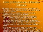 limits of effectiveness of reactive solutions