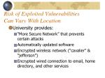 risk of exploited vulnerabilities can vary with location