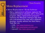 client security menu replacement