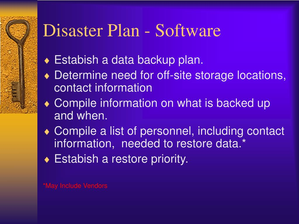 Disaster Plan - Software