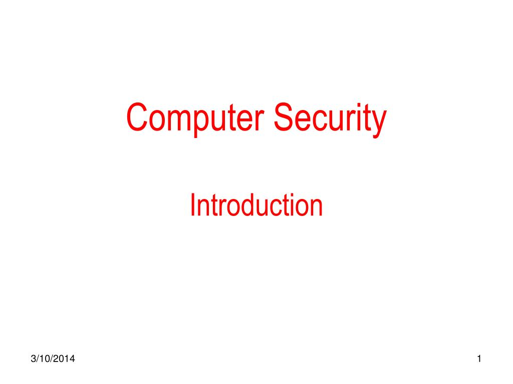 computer security introduction l.