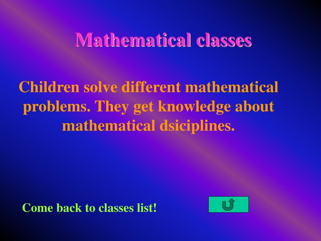 Mathematical classes