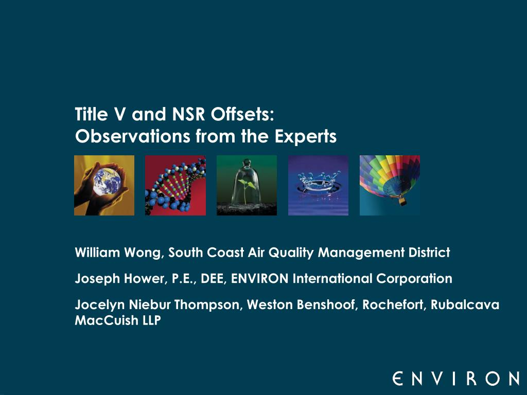 title v and nsr offsets observations from the experts l.