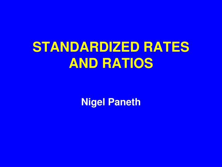 standardized rates and ratios n.