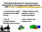 participant reasons for the increased popularity of packaging and programming7