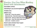 practice use care when reading email with attachments