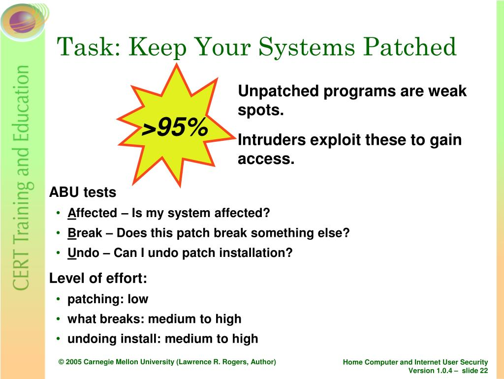 Task: Keep Your Systems Patched